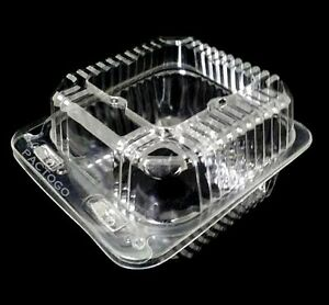 Plastic Clear 6 Hinged Food Takeout Container Cookie Favor Cake 125 pk Durable