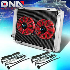 For 79 93 Mustang Full Aluminum 3 Row Core Racing Radiator Cooling Red Fans