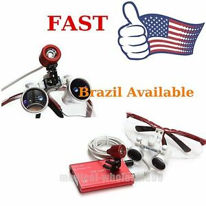Usps Dental Surgical Magnifier Binocular Loupe Glasses Led Head Light Lamp Kit