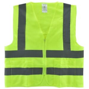 Small 2 Pockets Yellow Safety Vest With Reflective Strips Ansi isea