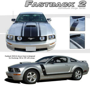 Fastback 2 Boss Hood Side Stripes 3m Vinyl Graphic Decal 2005 2009 Ford Mustang