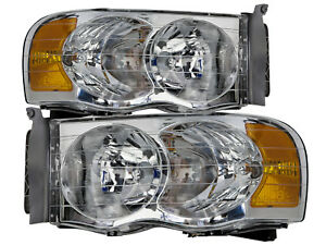 Headlight Set Fits 02 05 Dodge Ram 02 05 1500 03 05 2500 3500