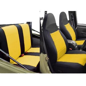 1997 2002 Jeep Wrangler Tj Neoprene Seat Covers Full Set Yellow On Black Tj127y