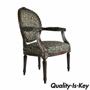 Vintage French Louis Xvi Style Carved Walnut Fireside Arm Chair Fauteuil
