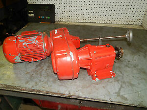 Brooks D80bh S291653 75kw 1hp Motor With Lenze Variable Speed Gear Reducer