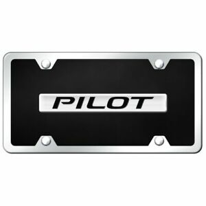 Honda Pilot Name Acrylic Front License Plate Novelty Black Gloss Authentic