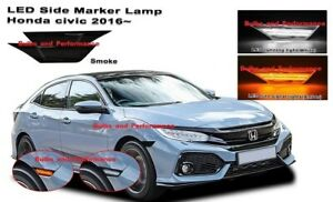Smoked Lens Led Switchback Amber white Side Markers For 2016 2020 Honda Civic