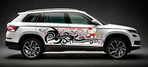 Hello Kitty Cute Girl Decal Graphic Vinyl Tribal Design Car 2 Free Window Visors