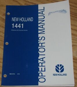 new Holland 1441 Discbine Mower conditioner Operators Owners Manual 86614734 Nh