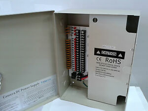 Cctv Power Supply Box Distribution Unit 18 Ports Output Ptc Fuse 12v Dc 20amp