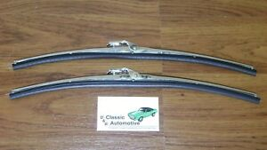Windshield Wiper Blades W Polished Stainless Holder Pair In Stock