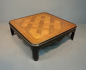 Vintage Baker Parque Top Ebonized Square Hollywood Regency Coffee Table 14x42