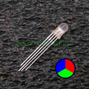 10pcs Rgb Led Diffused Lens 5mm Common Cathode 4 pin Red Green Blue Usa 10x V28