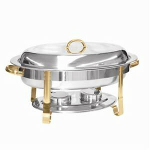 Chafer 6 Quart Gold Accented Oval Restaurant Cafe Banquet Buffet Slrcf0836ghz