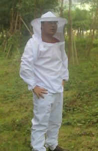 New Beekeeping Full Suit With Veil jacket And Pants Smock Bee Suit Equip White