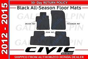 Genuine Oem Honda Civic 4dr Sedan Black All Season Floor Mats 2012 2015 110b