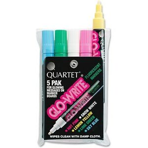 6 Pack glo write Fluorescent Markers Five Assorted Colors 5 set By Quartet