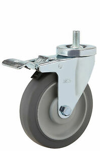 Total Lock Stem Caster Ts 1 2 13x1 Rubber On Poly Wheel 5 X 1 1 4 Ball Brg