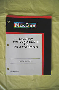 Macdon Model 742 Hay Conditioner 942 972 Headers Parts Catalog Manual 2002 Guc