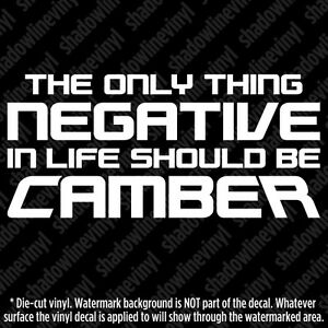 Negative Camber Decal Sticker Jdm Euro Funny Fatlace Slammed Stance Hellaflush