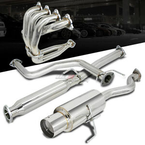 Racing 4 5 Muffler Tip Catback Exhaust Header Manifold For 96 00 Honda Civic 3dr