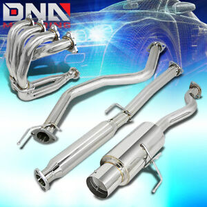 Racing 4 5 Muffler Tip Catback Exhaust Header Manifold For 92 00 Civic 2 4dr