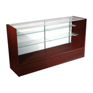 Economy Walnut Cherry Glass Display Case Showcase 48 L New York Pickup Only