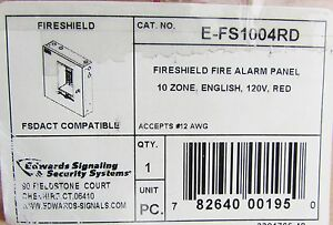 Edwards Utc Fire Shield Fire Alarm Panel 120v Red 10 Zone English E Fs1004rd