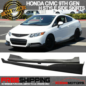 Fits 12 15 Honda Civic 2dr Hf p Style Pu Side Skirts Extension Unpainted Pu