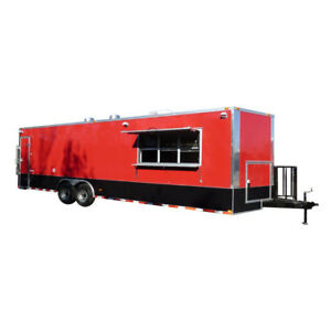 Concession Trailer 8 5 X 28 Red Enclosed Food Catering Event
