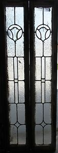 Pair Antique Beveled Glass Sidelites Windows 66 5 Tall Architectural Salvage