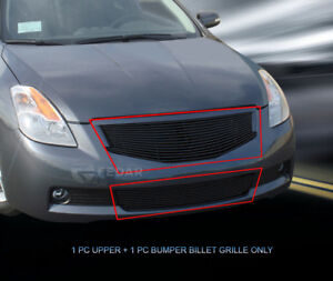 Fits 2008 2009 Nissan Altima Coupe Black Billet Grille Grill Combo Insert Fedar