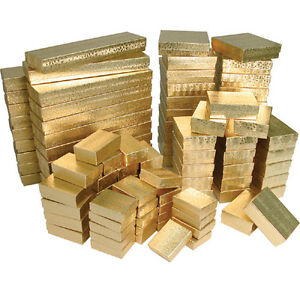 Gold Assorted Jewelry Gift Boxes Value Pack 5 Different Sizes 100 Pieces