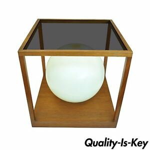 Vintage Mid Century Danish Modern Teak Smoked Lucite Cube Table Desk Lamp