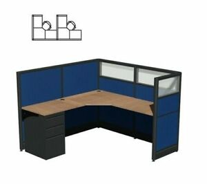 Custom 2 Person Workstation 6x6x52 h L shape Cubicles Teaming Cubicles
