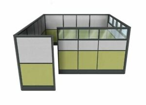 Modular Office With Glass Top Panels Custom Cubicle 9x6x65 h Executive Cubicle