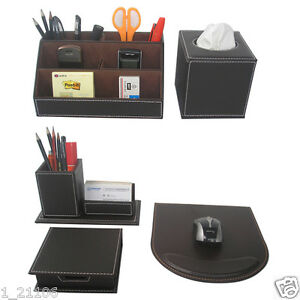 5pcs set Brown Business Desk Leather Stationery Organizer Box Pens Cards Holder