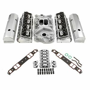 New Chevy Sbc 350 Hyd Ft 190cc Straight Plug Cylinder Heads Top End Engine Kit