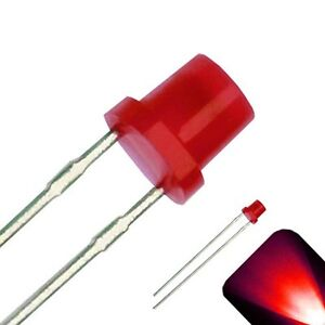 20 X Led 3mm Red Diffused Ultra Bright Flat Top Wide Angle Leds Light Lamp Rc