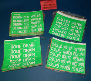 Lot Of Plumbers Plumbing Water Pipe Labels Deionized Chilled Chilled Return