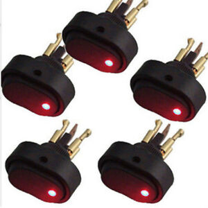 Hotsystem 5x Red Led Light 12v 30amp 30a Car Boat Auto Rocker Spst Toggle Switch