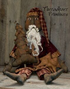 Pattern Extreme Primitive Black Santa Claus Doll Christmas Tree Ornie Doll