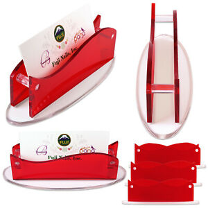6 X New Clear Red Acrylic Plastic Desktop Business Card Holder Display Usa