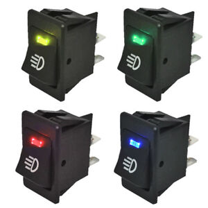 4pcs 12v 35a Universal Car Fog Light Rocker Switch Led Dash Dashboard 4pin Hs