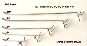 100 Pack Asst Metal Pegboard Hooks 20 Ea Of 10 8 6 4 2 Made In Usa Peg