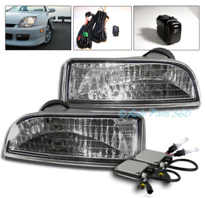 For 97 01 Honda Prelude Bumper Driving Clear Fog Lights Lamp Switch W 6000k Hid