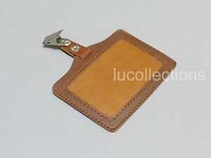 Lot Of 5 Horizontal Pu Leather Id Badge Holder Clip H148