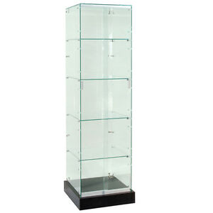 Frameless Tempered Glass Tower Trophy Case With Black Base 72 New York Pickup
