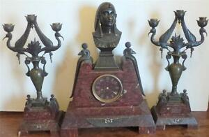 Paul Auguste Gagne French Egyptian Revival Bronze Clock W Garniture Set C 1875
