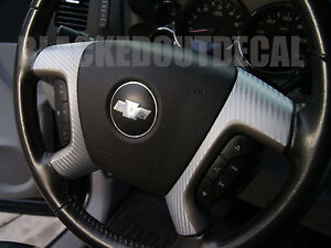 07 13 Gmc Chevy Silver Carbon Fiber Steering Wheel Spoke Overlay Decal Cover